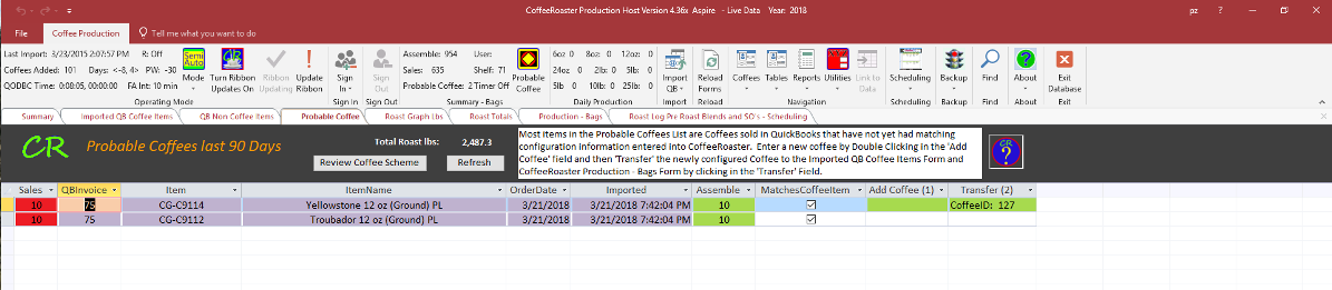 CoffeeRoaster Probable Coffees Transfer